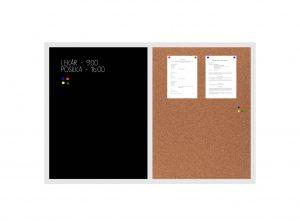 Produkt Kombinovaná tabuľa čierna v bielom drevenom ráme