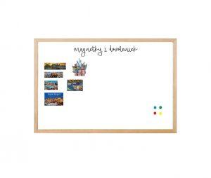 Produkt Biela tabuľa na magnetky v drevenom prírodnom ráme
