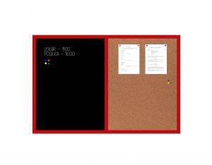 Produkt Kombinovaná tabuľa čierna v červenom drevenom ráme