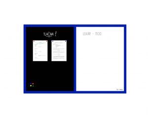 Produkt Kombinovaná magnetická tabuľa v modrom drevenom ráme