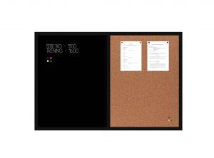 Produkt Kombinovaná tabuľa čierna v čiernom drevenom ráme