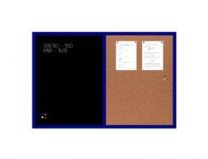 Produkt Kombinovaná tabuľa čierna v modrom drevenom ráme