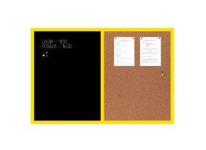Produkt Kombinovaná tabuľa čierna v žltom drevenom ráme