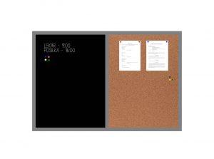 Produkt Kombinovaná tabuľa čierna v šedom drevenom ráme