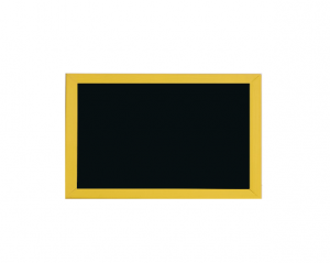 Produkt Čierna magnetická kriedová tabuľa v žltom drevenom ráme